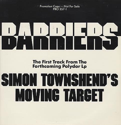 "Simon Townshend Barriers - Clear Vinyl 12"" vinyl single (12 inch record / Maxi-single) US ITW12BA93221"