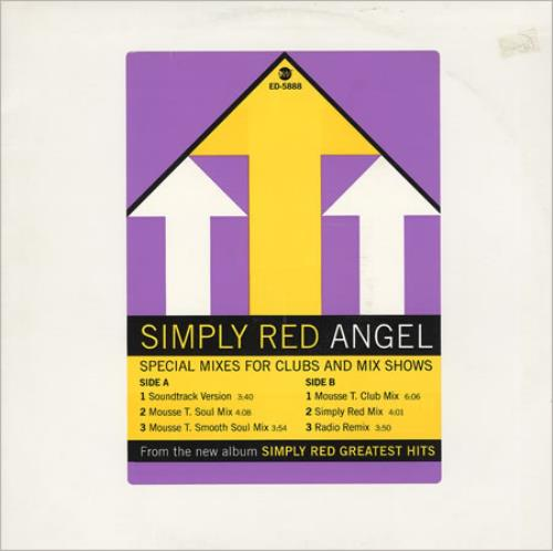 """Simply Red Angel - Special Mixes For Clubs 12"""" vinyl single (12 inch record / Maxi-single) US RED12AN77582"""