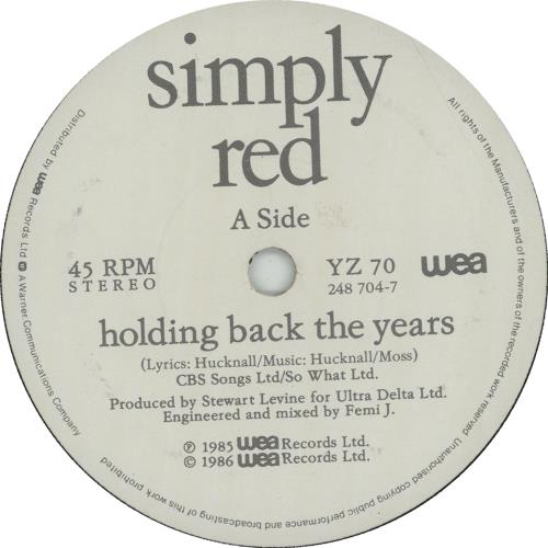 "Simply Red Holding Back The Years 7"" vinyl single (7 inch record) UK RED07HO664903"