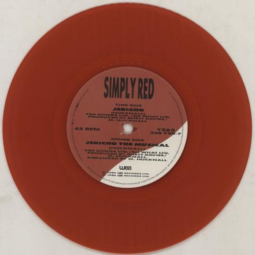 """Simply Red Jericho - RED vinyl 7"""" vinyl single (7 inch record) UK RED07JE758613"""