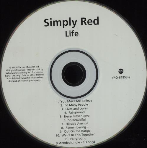 Simply Red Life CD album (CDLP) US REDCDLI72748