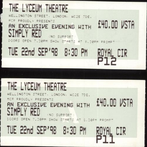 Simply Red Lyceum Theatre 1998 + ticket stubs tour programme UK REDTRLY730955