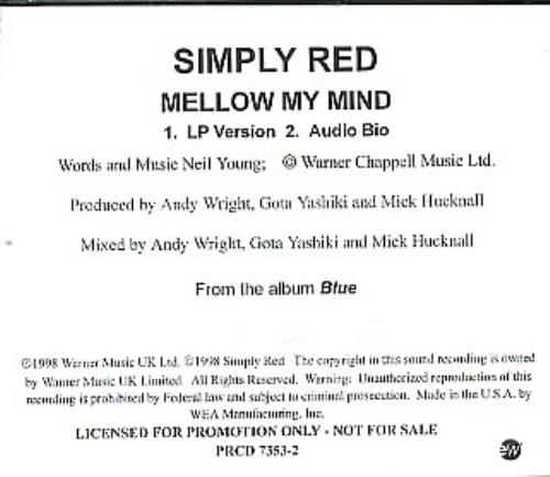 """Simply Red Mellow My Mind CD single (CD5 / 5"""") US REDC5ME130111"""