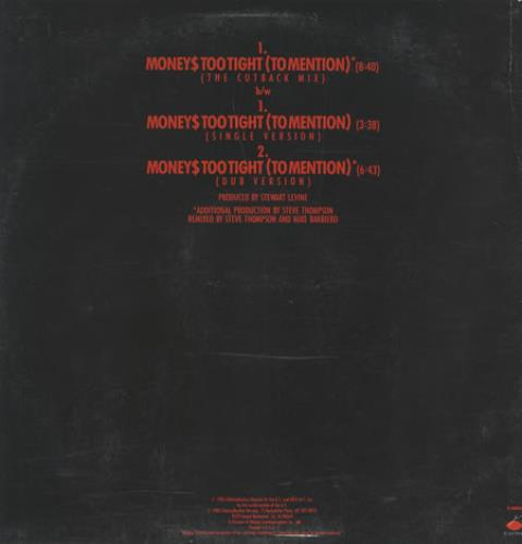 """Simply Red Moneys Too Tight - Cutback Mix 12"""" vinyl single (12 inch record / Maxi-single) US RED12MO12429"""