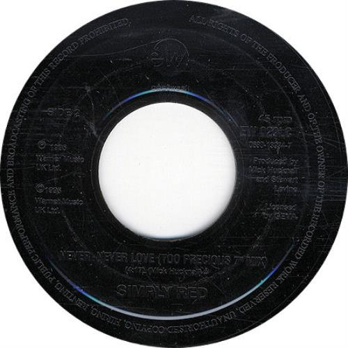 "Simply Red Never Never Love 7"" vinyl single (7 inch record) UK RED07NE189869"