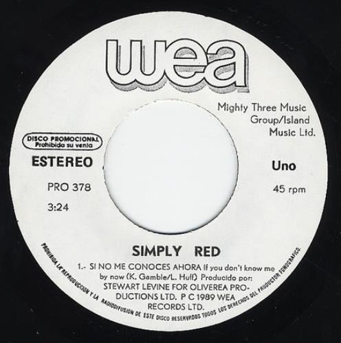 """Simply Red Si No Me Conoces Ahora 7"""" vinyl single (7 inch record) Mexican RED07SI234158"""