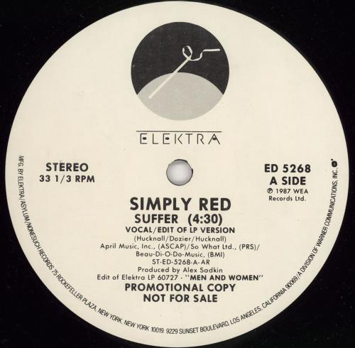 "Simply Red Suffer 12"" vinyl single (12 inch record / Maxi-single) US RED12SU23687"