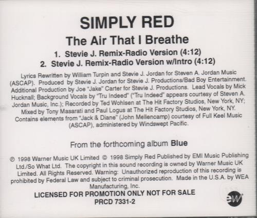 """Simply Red The Air That I Breathe CD single (CD5 / 5"""") US REDC5TH111567"""