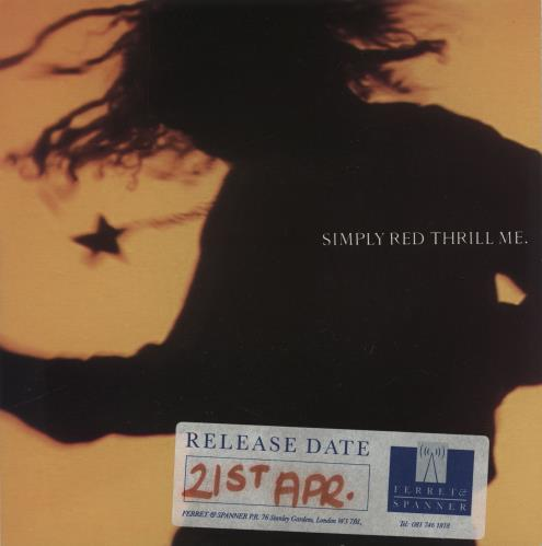 """Simply Red Thrill Me - Promo Stickered 7"""" vinyl single (7 inch record) UK RED07TH758612"""