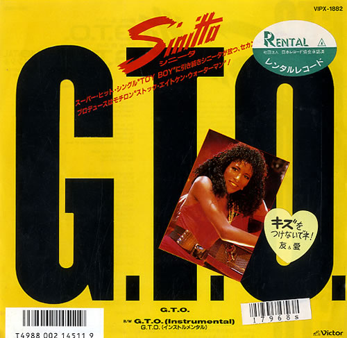 "Sinitta G.T.O 7"" vinyl single (7 inch record) Japanese SIT07GT133948"