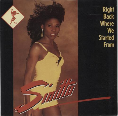"""Sinitta Right Back Where We Started From 7"""" vinyl single (7 inch record) UK SIT07RI273271"""