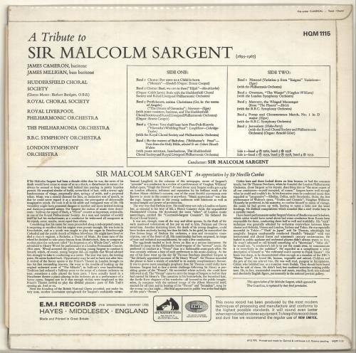 Sir Malcolm Sargent A Tribute To Sir Malcolm Sargent vinyl LP album (LP record) UK YI0LPAT700345