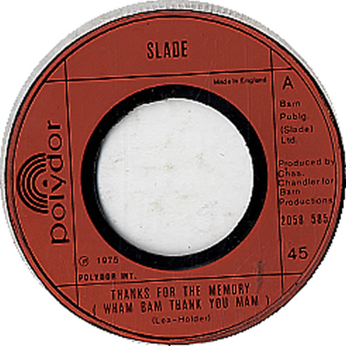 "Slade Thanks For The Memory (Wham Bam Thank You Mam) - Wide Cent 7"" vinyl single (7 inch record) UK SDE07TH610474"