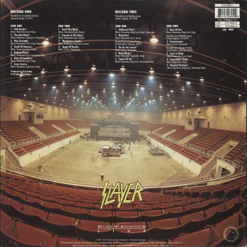 Slayer Decade Of Aggression - Live 2-LP vinyl record set (Double Album) UK SLA2LDE190961
