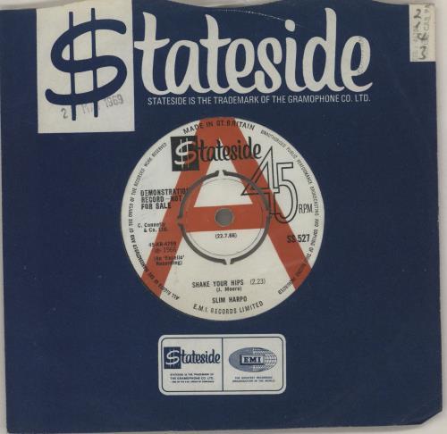 """Slim Harpo Shake Your Hips - Demo 7"""" vinyl single (7 inch record) UK SXO07SH754433"""