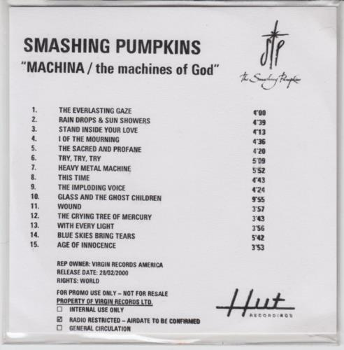 Smashing Pumpkins MACHINA / The Machines Of God CD-R acetate UK SMPCRMA152721