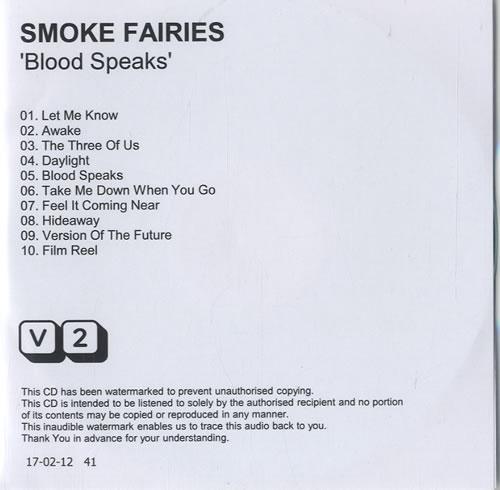 Smoke Fairies Blood Speaks CD album (CDLP) UK SXQCDBL568591