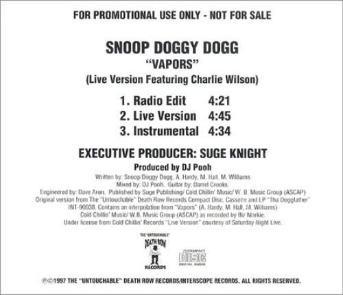 "Snoop Doggy Dogg Vapors CD single (CD5 / 5"") US SDDC5VA187111"