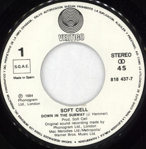 """Soft Cell En El Metro 7"""" vinyl single (7 inch record) Spanish SOF07EN727407"""