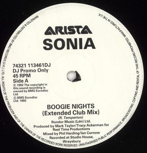 "Sonia Boogie Nights - Promo 12"" vinyl single (12 inch record / Maxi-single) UK SNI12BO723486"