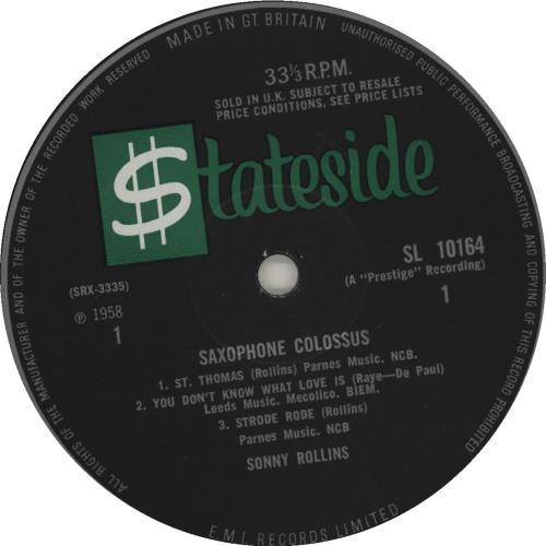 Sonny Rollins Saxophone Colossus - EX vinyl LP album (LP record) UK SOZLPSA686065