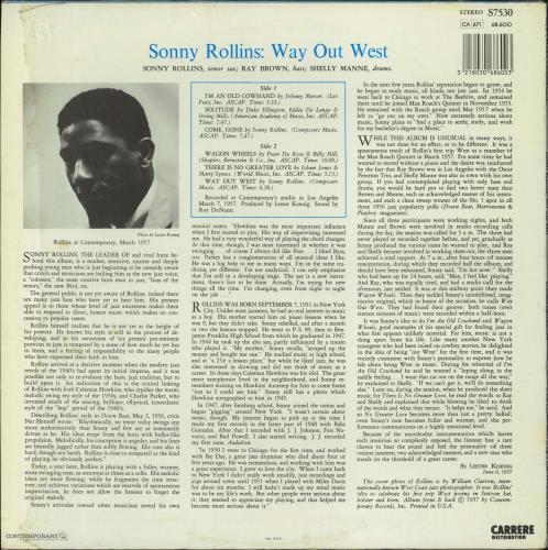 Sonny Rollins Way Out West vinyl LP album (LP record) French SOZLPWA770065