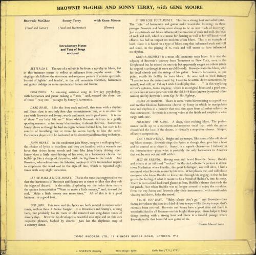Sonny Terry & Brownie McGhee Brownie McGhee And Sonny Terry with Gene Moore vinyl LP album (LP record) UK Y&BLPBR736753