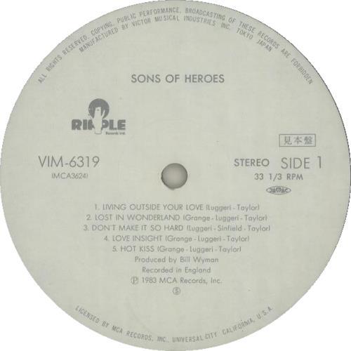 Sons Of Heroes Sons Of Heroes vinyl LP album (LP record) Japanese SONLPSO203718