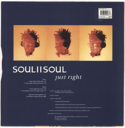 "Soul II Soul Just Right 12"" vinyl single (12 inch record / Maxi-single) UK STS12JU719786"