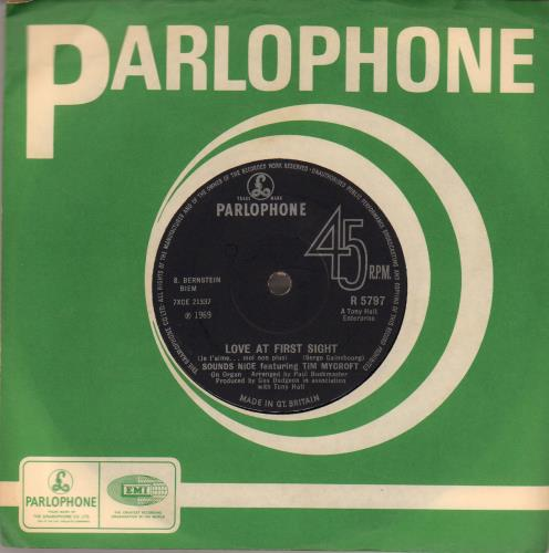 """Sounds Nice Love At First Sight - Solid 7"""" vinyl single (7 inch record) UK UPW07LO511566"""