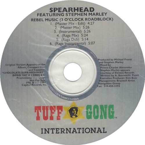 "Spearhead Rebel Music (3 O'Clock Roadblock) CD single (CD5 / 5"") US S-HC5RE534244"
