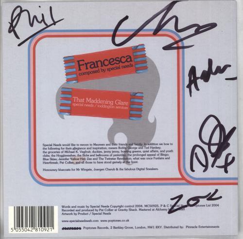 "Special Needs Francesca - Autographed 7"" vinyl single (7 inch record) UK NEE07FR305600"