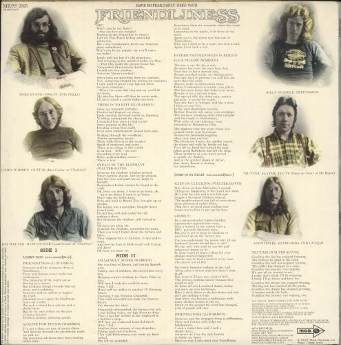 Stackridge Friendliness + fan club inserts vinyl LP album (LP record) UK KRDLPFR721010