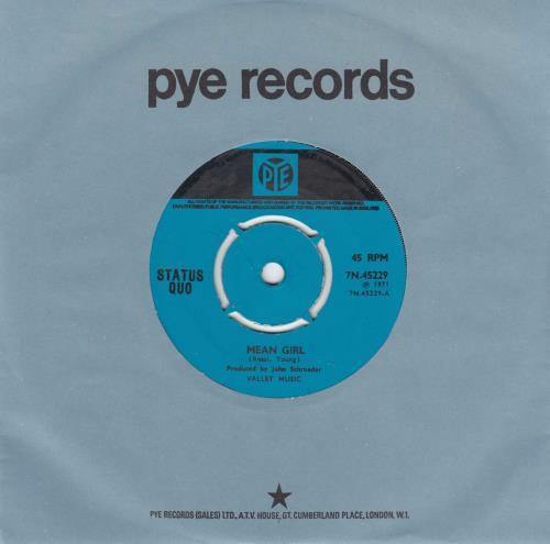 "Status Quo Mean Girl - Turquoise Label 7"" vinyl single (7 inch record) UK QUO07ME691523"