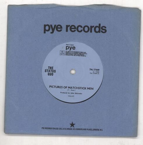 """Status Quo Pictures Of Matchstick Men - Solid - EX 7"""" vinyl single (7 inch record) UK QUO07PI736960"""