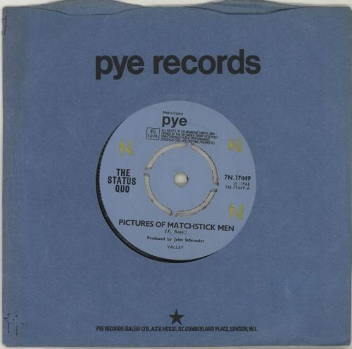 "Status Quo Pictures Of Matchstick Men - WOL 7"" vinyl single (7 inch record) UK QUO07PI687951"
