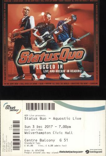 Status Quo Plugged In: Live & Rockin' Tour 2017 + Ticket Stub & 2-CD tour programme UK QUOTRPL732145