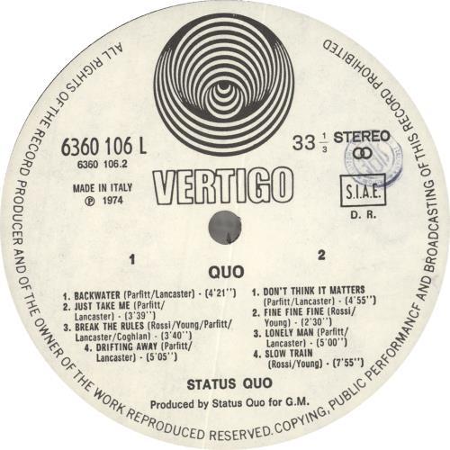 Status Quo Quo vinyl LP album (LP record) Italian QUOLPQU727244