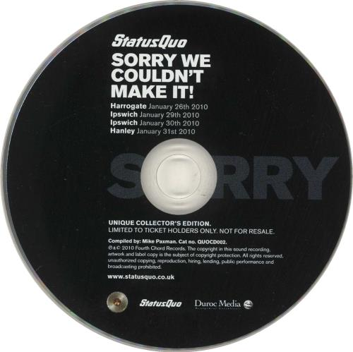 """Status Quo Sorry We Couldn't Make It! CD single (CD5 / 5"""") UK QUOC5SO735005"""