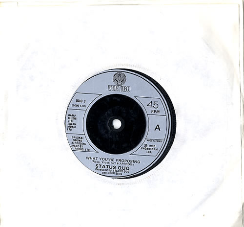 """Status Quo What You're Proposing 7"""" vinyl single (7 inch record) French QUO07WH623002"""