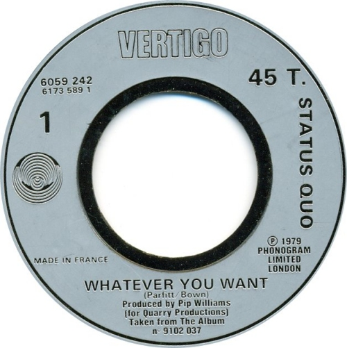 """Status Quo Whatever You Want - Jukebox 7"""" vinyl single (7 inch record) French QUO07WH626036"""