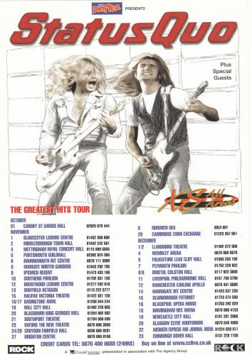 Status Quo Xs All Areas The Greatest Hits Tour Uk Promo