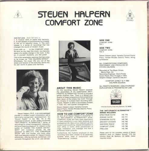 Steven Halpern Comfort Zone vinyl LP album (LP record) US XVJLPCO690539