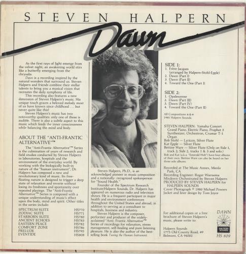 Steven Halpern Dawn vinyl LP album (LP record) US XVJLPDA690506