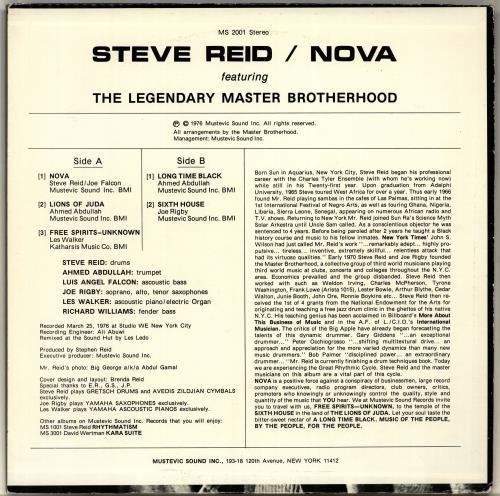 Steve Reid Nova - 1st vinyl LP album (LP record) US S1ELPNO704631