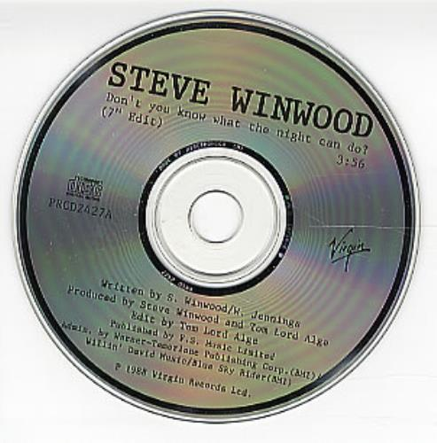 "Steve Winwood Don't You Know What The Night Can Do? CD single (CD5 / 5"") US WWDC5DO297365"