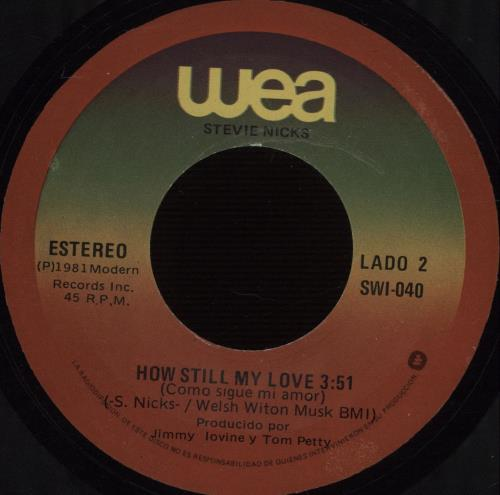 "Stevie Nicks Stop Draggin' My Heart Around - Misprinted Label 7"" vinyl single (7 inch record) Mexican NIC07ST666991"