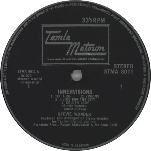 Stevie Wonder Innervisions Uk Vinyl Lp Album Lp Record