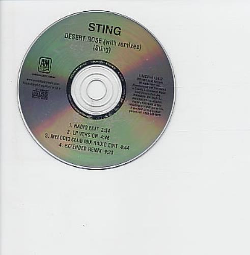"Sting Desert Rose - With Remixes CD single (CD5 / 5"") Canadian STIC5DE166603"