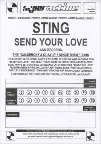 "Sting Send Your Love 12"" vinyl single (12 inch record / Maxi-single) UK STI12SE258815"